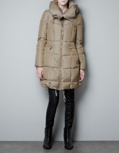 Quilted Coat Enhancing a Small Frame with cinched waist (Zara)