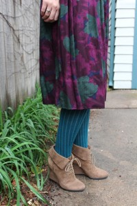 Ankle Boot with Heel & Striped Tights
